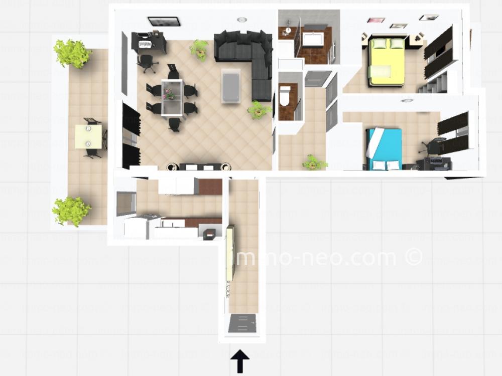 Vendita appartamento saint rapha l 3 locali 75 m2 for Planimetrie seminterrato da 1000 piedi quadrati
