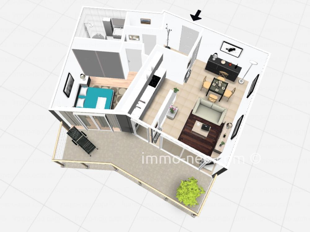 Vendita appartamento le cannet 2 locali 51 m2 for Planimetrie seminterrato da 1000 piedi quadrati