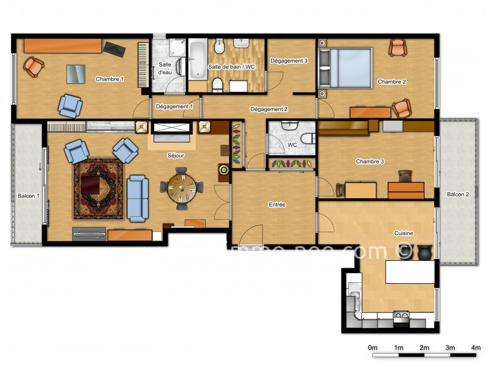 Vendita appartamento melun 4 locali 126 m2 for Planimetrie seminterrato da 1000 piedi quadrati