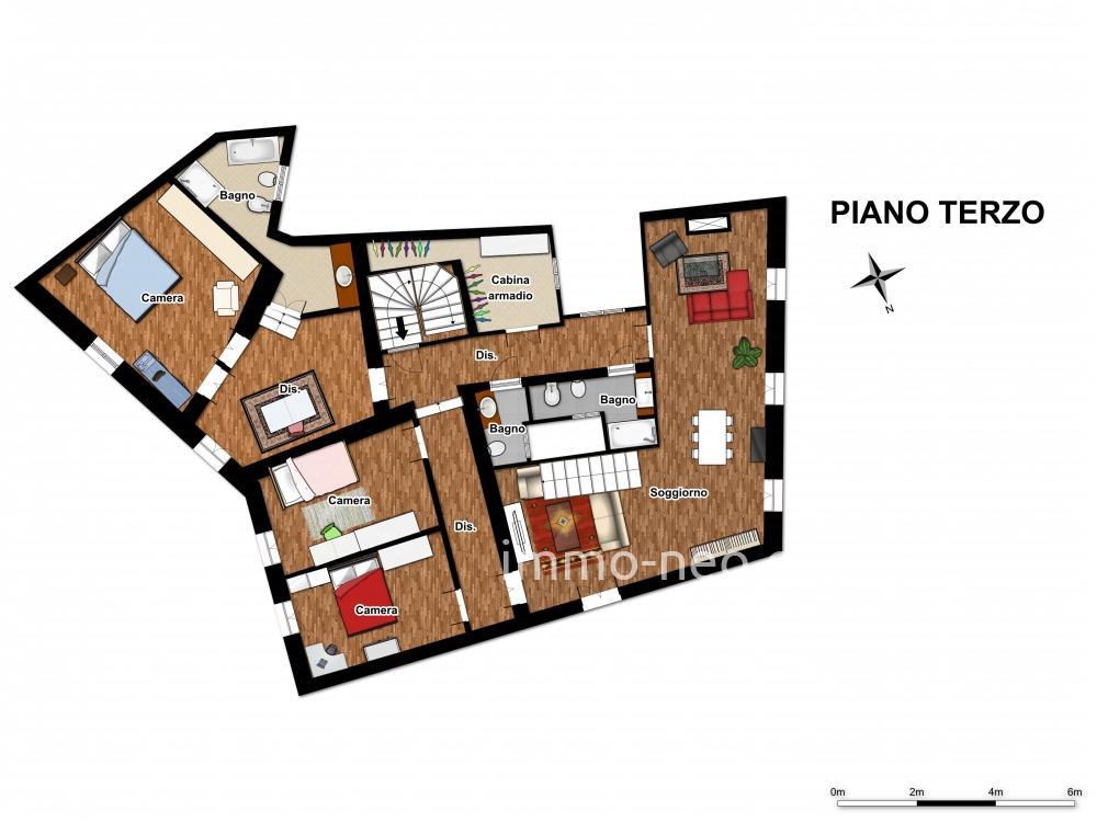 Vendita appartamento iglesias 6 locali 283 m2 for 2 camere da letto 2 bagni planimetrie della cabina di log