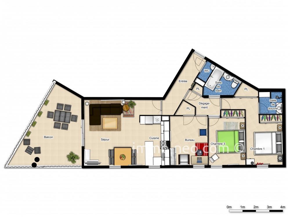 plan appartement 1 facade